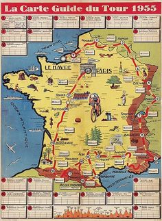 La carte guide du Tour de France - 1955 - (Brochard) -