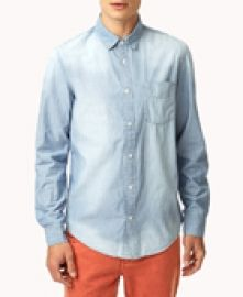 A classic fit chambray shirt featuring a pinstripe pattern.