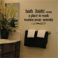 Bath -Noun a Place to Wash Worries Away – Serenity 12.5″ H x 25″ W Vinyl Lettering Family Quote Wall Sayings Art Words Decal Sticker. $13.99 «Best Decals»