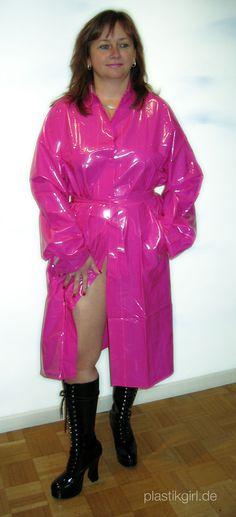 Shiny pink PVC Raincoat