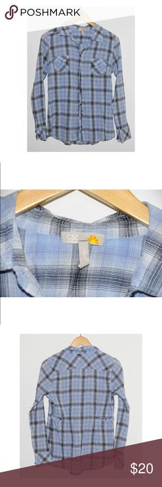 C&C California Blue Striped Plaid Blouse - Size M WHAT'S FOR SALE:Up for sale is a 100% authentic C&C Cali Blouse  SIZE:US Women's Size M Length - 26 inches Shoulder to Shoulder - 15inches Armpit to Armpit -17.5 inches  COLOR: Blue Plaid  CONDITION:Pre-owned and in good condition - no major flaws!  MATERIALS: 100% Cotton (covet box 2) C&C California Tops Button Down Shirts
