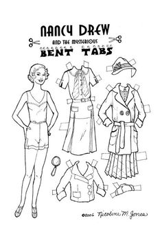 Nancy Drew and the Mysterious Bent Tabs - black and white paper doll for you to color - young adult female