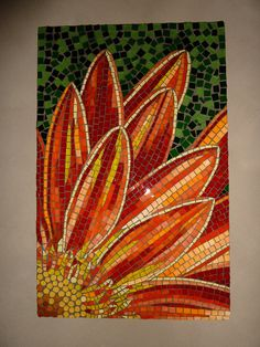 Gerbera by Julie Aldridge, Joolz Mosaic Art Mosaic Tile Art, Mosaic Artwork, Mosaic Crafts, Mosaic Projects, Stone Mosaic, Mosaic Glass, Stained Glass, Art Projects, Glass Art