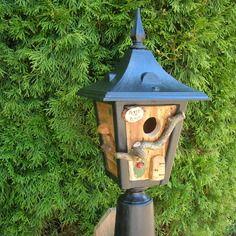 mangeoire kiosque oiseaux des jardins ancienne lampe recycl e objet d tourn originale et. Black Bedroom Furniture Sets. Home Design Ideas