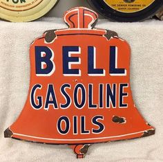 BELL GASOLINE OILS PORCELAIN SIGN  | eBay Car Signs, Garage Signs, Advertising Signs, Vintage Advertisements, Tyre Shop, Old Gas Stations, O Gas, Porcelain Signs, Vintage Metal Signs