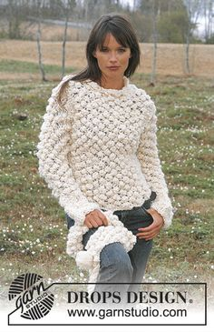 Knitted Sweater & Scarf, free patterns from Garnstudio – astonish your friends – these almost look crocheted!