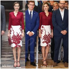 Queen Letizia (L) during her visit to Mexico City, June 30, 2015 and (R) for a Meeting of the Board of the Institutio Cervantes, Santiago de Compostela, July 21, 2015.