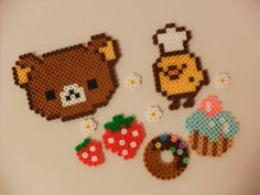 Set of 10 Perler Beads Rilakkuma ans Sweets for Decoration by KawaiiLittlePresents