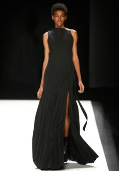 Black wool pleated maxi plastron gown