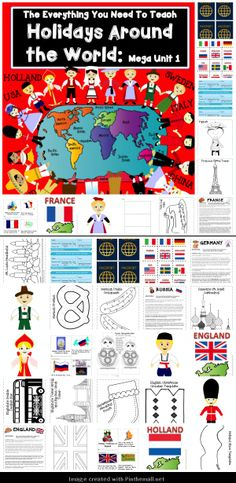HOLIDAYS AROUND THE WORLD MEGA UNIT! 12 countries 12 readers LOTS of activities & printables!  Puppets, maps, passports, stamps, airline ticket, suitcase & more! - created via http://pinthemall.net