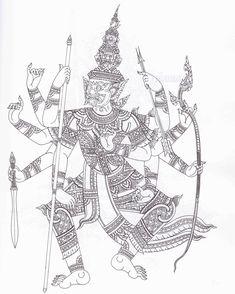 ท้าวสหัสเดชะ (ที่มาภาพ หนังสือ ยักษ์ในรามเกียรติ์ ชุด พรหมพงศ์และอสูรพงศ์ต่างเมือง) Khmer Tattoo, Thai Tattoo, Thai Design, Thailand Tattoo, Poster Background Design, Japanese Tattoo Designs, Thai Art, Thai Style, Muay Thai