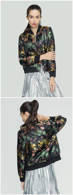Women Black Vintage Floral Zip Up Lightweight Short Bomber Jacket Coat Outwear