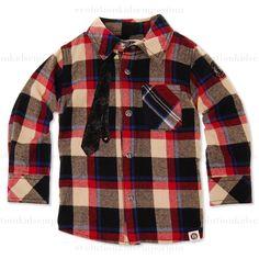 Mini Shatsu Neck Tie Plaid Long Sleeve Shirt: Designer Kids Clothes | Shop our Boutique for Cool Children's Clothing