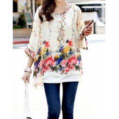 Bohemian Scoop Neck Floral Print Batwing Sleeve Chiffon Blouse For Women - Apricot - L