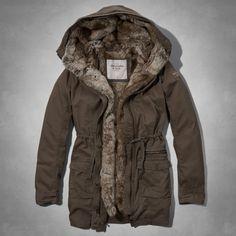 New Abercrombie & Fitch Women Lindsey Fur Lined Parka Coat  Brown Jacket S   #AbercrombieFitch #LindseyFurLinedParkaJackets