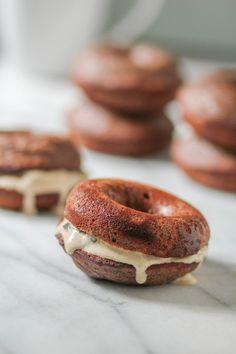 Dark Chocolate Doughnuts with Coffee Ice Cream
