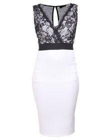 AX Paris Lace Wrap Contrast Dress Black/Cream