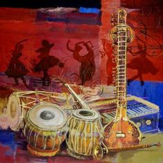 "Saatchi Art Artist Corporate Art Task Force; Painting, ""The Dhol, Tabla, Sitar & Harmonium"" #art"