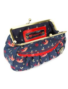 red sparrow & anchor coin purse by loungefly