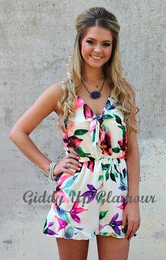 Hot Tropics Romper in Neon Florals | $36.95