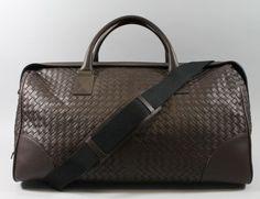 NEW BOTTEGA VENETA Ebano Intrecciato Woven Leather Duffle Handbag BUY NOW @ www.ShopLindasStuff.com