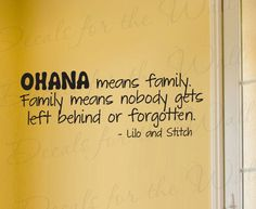 Lilo and Stitch Ohana Family Disney Girl or Boy Room Kid Baby Nursery Vinyl Wall Decal Lettering Art Decor Quote Sticker Decoration B85. $22,97, via Etsy.