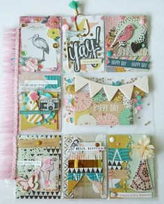 """The final look at the """"confetti"""" themed I made for a fb swap. by hello_gnap Pocket Pal, Pocket Cards, Pocket Scrapbooking, Scrapbooking Layouts, Snail Mail Pen Pals, Diary Decoration, Project Life Cards, Crate Paper, Candy Cards"""