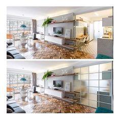 | Decoração | Ótima solução para integrar ou não a cozinha e a sala, o vão pode ficar completamente aberto! E o que é esse piso de tacos de madeira com paginação espinha de peixe?! Lindo!  | Projeto de @claricesemerene e foto de @joanafranca | #bangalôdatati #tacosdemadeira #espinhadepeixe #integrarambientes