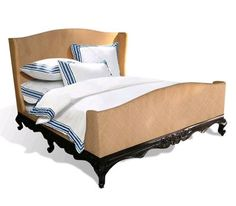 Dominican Wing Bed - rattan weave - thinking white wash base