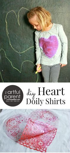 How to Make Heart Shirts for Kids An Easy Valentines Day Printmaking Project! - DIY Heart Shirts with Printed Doilies (Redux) - My Funny Valentine, Valentine Crafts For Kids, Valentines Day Activities, Valentines Diy, Art Activities For Kids, Craft Projects For Kids, Crafts For Kids To Make, T Shirt Painting, Textiles