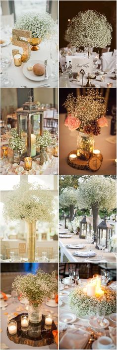 Rustic Baby's Breath Wedding Centerpiece Decorations