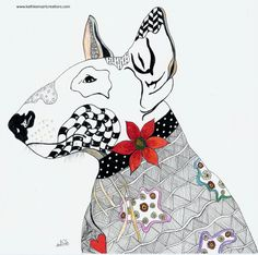 """Whimsical Zentangle® Inspired design of a Bull Terrier. This was the my first dog in my """"Dog and Cat"""" series of note cards. Completed May 11, 2014.  A 12-pack of note cards are available for $23.00 with FREE shipping and handling.  Prints also available plus much more."""