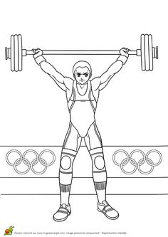 Coloriage jeux olympique : haltérophilie  Hugolescargot.com - Hugolescargot.com Kids Olympics, Tokyo Olympics, Summer Olympics, Printable Coloring Pages, Coloring Pages For Kids, Coloring Sheets, Sports Clips, Sports Games, Sports Day