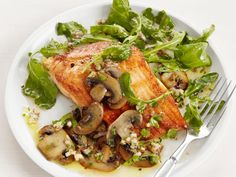 Arctic Char with Mushrooms: This crispy fish takes only about six minutes to cook, and a simple shallot-mushroom sauce and light arugula salad round out the dish with layered textures and flavors.