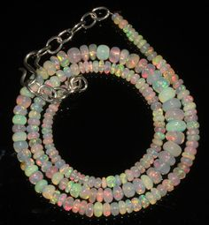 "48 Crts 1 Strands 3 to 6  mm 17"" Beads necklace Ethiopian Welo Opal 88713"