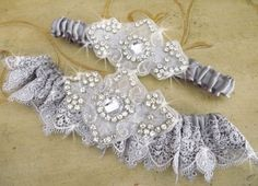 SILVER LACE Wedding Garter Set/  CRYSTAL Garter/  by Weddingzilla