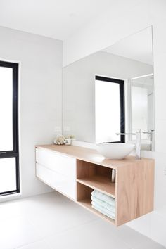 One of our custom designed and crafted Blackbutt bathroom vanities in a beautiful home. Timber Bathroom Vanities, Timber Vanity, Modern Bathroom, Custom Vanity, Vanity Design, Furniture Care, Building A New Home, Vanity Units, Loft Style