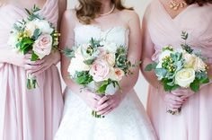 'The bouquets were a mix of apricot peonies; pale blush, white and cream roses; hints of grey foliage; grey succulents; waxflower and gypsophila; thistle and twigs; cream and peach berries; and pungent herbs.'