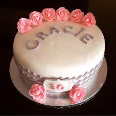 30th Birthday Chevron Fondant Cake with Pink Roses