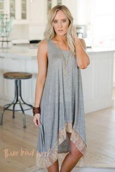 High-Low Lace Tank Slip Dress