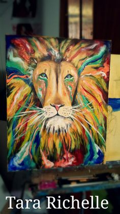 Fresh paint on the easel ♡ will be available for purchase as soon as it dries . Psychedelic lion, colorful , vibrant , lion painting , wall art, rasta, reggae , iron lion , zion, Bob Marley , tribal , one love , judah