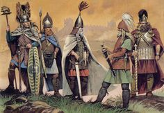 """Illustration from """"Ancient Celts"""". Celtic warriors at hillfort in cenral Europe, second half of 5th Century BC."""