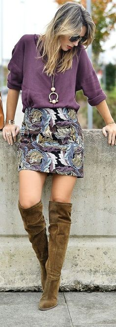 Print Skirt / Fashion By Zorannah - not the boots, but love the jumper and skirt