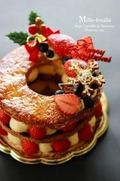 「クリスマスのミルフィーユ・リース」るぅ | お菓子・パンのレシピや作り方【corecle*コレクル】