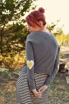 how to add elbow patches to a sweater! - A Beautiful Mess