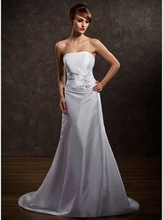A-Line/Princess Strapless Court Train Taffeta Wedding Dress With Ruffle Beading Appliques Lace