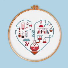 Chemistry of Love cross stitch pattern modern cross by ThuHaDesign