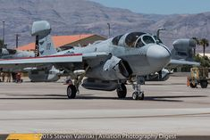 "Grumman EA-6B Prowler  163398  Marine Tactical Electronic Warfare Squadron 4 (VMAQ-4) ""Seahawks""  Red Flag 15-3  Nellis AFB, USA  For our coverage of Red Flag 15-3 check out:  AVIATION PHOTOGRAPHY DIGEST"
