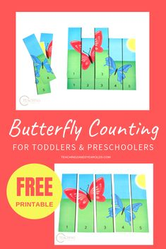 Teach simple counting during your spring theme with this fun butterfly activity for toddlers and preschoolers. Free Preschool, Preschool Printables, Preschool Themes, Preschool Classroom, Kindergarten Activities, Toddler Preschool, Preschool Activities, Insect Activities, Alphabet Activities