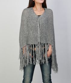 Hand knitted Little cotton poncho knit Fringe scarf by MaxMelody Cestas De  Ganchillo 6e8f4d9a5bfb